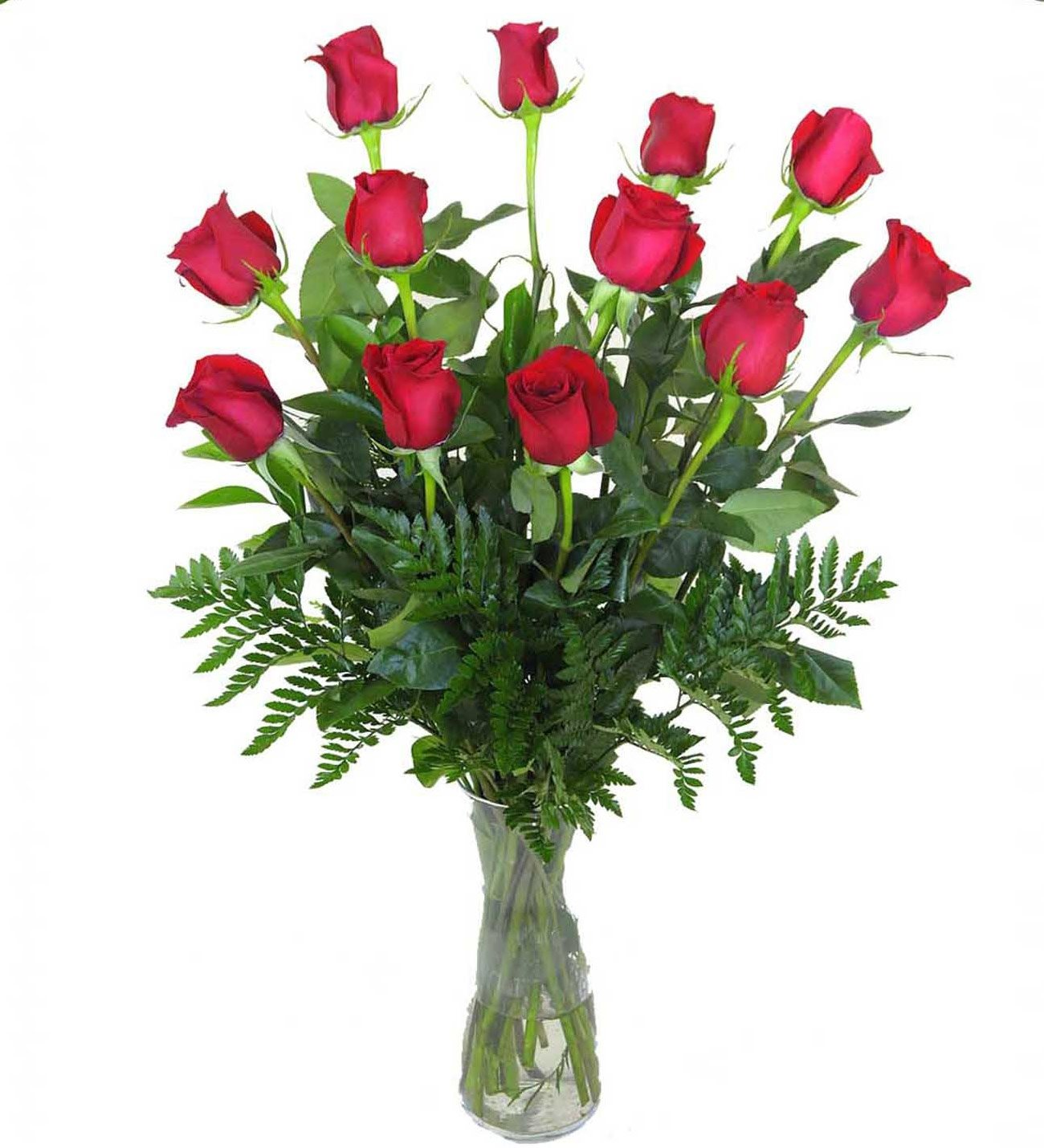 12 Red Rose Bouquet With Vase Free Delivery From Lolaflora